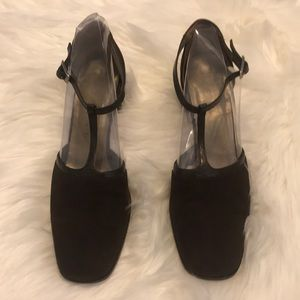 Yves Saint Laurent brown vintage t-strap pumps